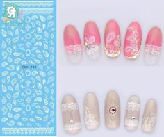 Rocooart DS134 2017 Water Transfer Nails Art Sticker White Lace Leaf Nail Wrap Sticker Tips Manicura French Designer