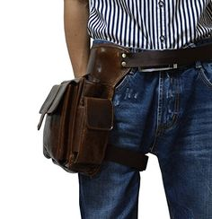 Mens Genuine Leather Waist Pack Brown Fanny Drop Leg Bag Leather Holster Bag ** Learn more by visiting the image link.