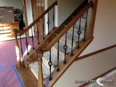After: Round Series Balusters in Single Globular Basket, Single Spoon Knuckle Pattern in Oil Rubbed Bronze.