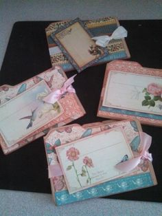 some beautiful mini-expandable file folder cards using the envelope punch board!