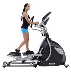 """Spirit XE895 Elliptical Stride Adjust - The Spirit Fitness XE895 has the flexibility to allow users to simulate the full body motion of a walk, jog, or run. The electronically adjustable stride length (18""""-24"""" in .5"""" increments) and narrow pedal spacing ensure an ideal stride motion, while the oversized/cushioned foot pedals and multi-position hand grips deliver maximum comfort for users of all sizes and fitness levels. www.FitnessExchange.com"""