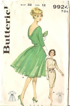 1960s Vintage Sewing Pattern Low Back Cocktail Dress Butterick