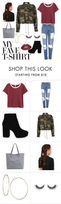 """""""My fav shirt ❤"""" by ariiikmk ❤ liked on Polyvore featuring Topshop, ALDO, Faith Connexion, Sole Society, LullaBellz, GUESS and MyFaveTshirt"""