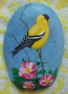 goldfinch painted rock