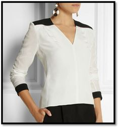 Flattering Blouse with Interesting Cut Power Dressing, Office Looks, Roland Mouret, Western Outfits, Silk Crepe, Feminine Style, Corsage, Dress Patterns, Blouses For Women
