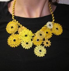 Kansas Sunflower Beaded Necklace by craxy on Etsy, $200.00
