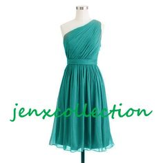 Turquoise, one-shoulder, bridesmaid dress, prom dress, evening dress, homecoming dress, short-length