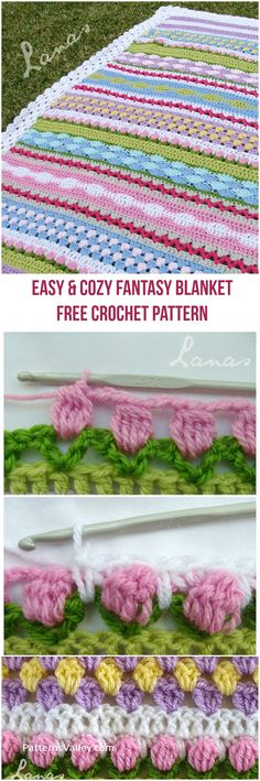 The Fantasy Blanket is a crochet blanket made with medium yarn, using a variety of stitches and colors. Crochet Afgans, Knit Or Crochet, Crochet Crafts, Crochet Baby, Easy Crochet Blanket, Afghan Crochet Patterns, Crochet Stitches, Baby Blanket Patterns, Crocheted Blankets