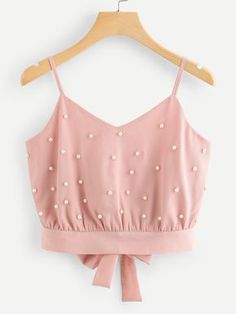 Pearl Beaded Split Tie Back Crop Cami Top -SheIn(Sheinside)