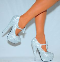 Glitter Sparkly Mary Janes Bow Ankle Strap Court Shoes Platforms High Heels Size | eBay