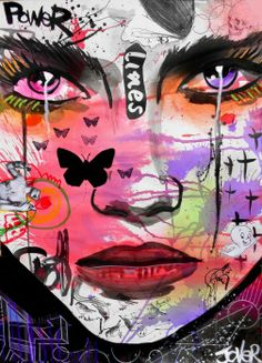 POWER LINES mixed media on paper by Loui Jover available to buy at www.bluethumb.com.au/louijover #Modern #Abstract #Graffiti #Art #Painting