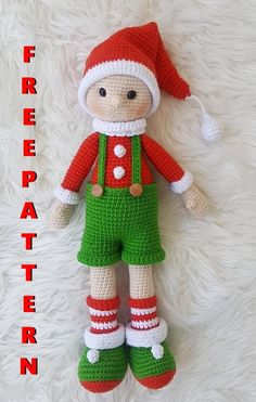 Crochet Christmas Decorations, Holiday Crochet, Crochet Amigurumi Free Patterns, Free Christmas Knitting Patterns, Crochet Projects, Crochet Tutorials, Amigurumi Doll, Stuffing, Crocheting