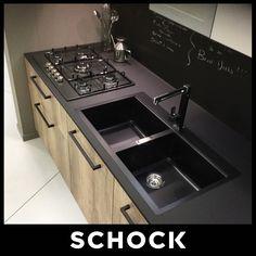 piani cucina in granito nero assoluto fiamm. e spazzolato con ...