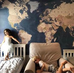 World Map Mural Maybe it's a little unusual to see a world map wall mural with all the countries labeled - but when we see maps without labels, the inevitable question comes up. Big World Map, World Map Mural, World Map Wallpaper, World Map Decor, World Map Bedroom, World Map Canvas, World Map Sticker, World Map Wall Decal, Wall Maps