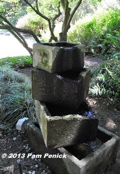 Concrete trough fountain --- Display gardens at Sunset Publishing headquarters: San Francisco Garden Bloggers Fling