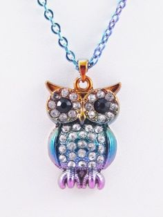 Very Colorful Owl Necklace Loaded with Crystals Whatnotz… Girls Necklaces, Jewelry Necklaces, Jewellery, Owl Backpack, Beautiful Owl, Owl Necklace, Owl Pendant, Bird Jewelry, Sterling Silver Necklaces