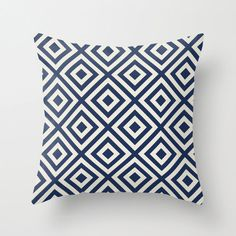 Navy and Cream Diamond Geometric Large Pillow Covers, Large Pillows, Throw Pillow Covers, Throw Pillows, Lavender Living Rooms, Lavender Walls, Pillow Fabric, Pillow Design, Pillow Inserts