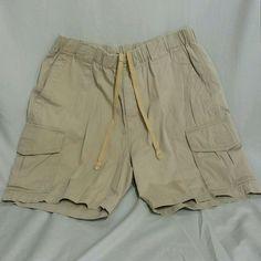 TOMMY BAHAMA Mens M Shorts Casual Khaki Cargo Drawstring Elastic Waist #TommyBahama #Cargo