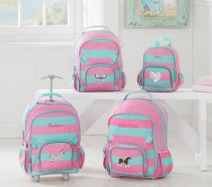Backpack for Back to School from Pottery Barn. These are so well made and I love the personalization -- Fairfax Pink/Aqua Stripe Backpack @potterybarn