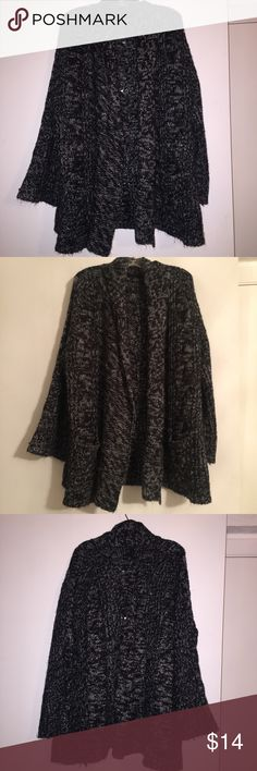 ‼️PERFECT CONDITION CARDIGAN‼️ This black/grey/white colored cardigan has 3/4 length sleeves. It also has to pretty large pockets on the front of the cardigan on both sides. It is super comfortable and warm to wear and can make any cute! Can be dressed up or down! The stitching the back of the cardigan is a diamond-like stitching so the cardigan is not teared up it is just the stitching. Has only been worn 2 times! PERFECT CONDITION❗️ Jackets & Coats