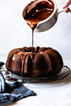 Free Chocolate Bundt Cake Recipe - This gluten free chocolate bundt cake gets its fudgy interior and fine crumb from nutrient-rich teff flour plus loads of Vermont Creamery butter and crème fraîche, all crowned with dark chocolate ganache. Gluten Free Cakes, Gluten Free Baking, Gluten Free Desserts, Food Cakes, Cupcake Cakes, Cake Cookies, Chocolate Bundt Cake, Chocolate Desserts, Chocolate Ganache