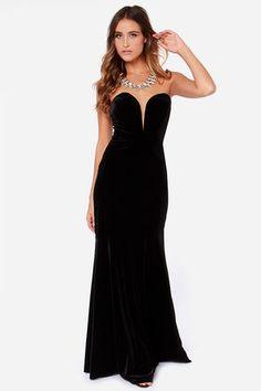Rubber Ducky Bold at Heart Strapless Black Velvet Maxi Dress at Lulus.com!