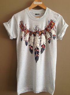 599916892293c 1990s Feather Tshirt  Vintage Tee  Native American Shirt  Boho Southwest  Shirt  Vintage