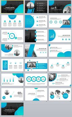 Blue Annual Report PowerPoint templates Item Details: Because the picture resolution is compressed, The PPT effects please watch video: Features: Blue Annual Report PowerPoint templates Easy and fully editable in powerpoint (shape color, size, posi Powerpoint Design Inspiration, Powerpoint Design Templates, Keynote Template, Brochure Template, Web Design, Slide Design, Design Trends, Design Presentation, Business Presentation