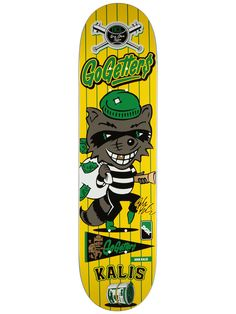 Not really sure what this deck is going for. Sure there's a cartoon raccoon bandit with simple bright colors, but that's about it. Is he a baseball teams mascot? It's just dull. The green and yellow together put me to sleep and the raccoon bandit is an overdone cartoon element.