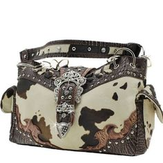 COW PRINT HANDBAG PURSE  BROWN *** Want to know more, click on the image.