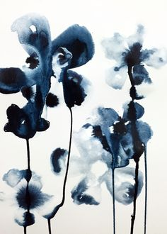 Indigo Blooms. Ink on Watercolor paper, Vasco Morelli.  Abstract floral indigo floral painting.
