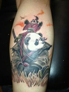 Omg too cute~ Original Pinner: Finally got my panda tattoo. Done at holy hell tattoo studio in Billingham uk. It is a representation of me and my best friend, always protecting eachother. Tattoo Design Drawings, Tattoo Sketches, Tattoo Designs, Tattoo Studio, Image Panda, Blatt Tattoos, Tattoo For Son, Japanese Tattoo Art, Samurai Tattoo
