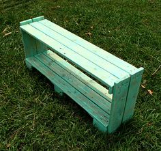 UPCYLED PALLET FURNITURE shelf with beautiful sea glass color paint via Etsy