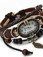 Unisex  European Style Leaf Leather Bracelet Watch