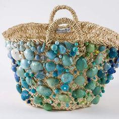 Diy Bags Easy, Summer Tote Bags, Art Bag, Unique Purses, Boho Bags, Linen Bag, Basket Bag, Shell Crafts, Fabric Bags