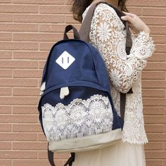 pure and fresh style Canvas pig nose Bud silk bag backpack  female students Big Capacity School  Teenagers Printing  For Girls