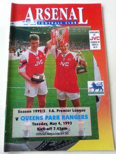 Arsenal v QPR Queens Park Rangers Football Programme Premiership 04/05/1993 Listing in the Premiership Fixtures,1992-2004,League Fixtures,English Leagues,Football (Soccer),Sports Programmes,Sport Memorabilia & Cards Category on eBid United Kingdom