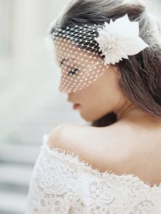 unique crystal netted bridal veil by @Robin Headley ATELIER by LIV HART | photo by @Laura Jayson Gordon