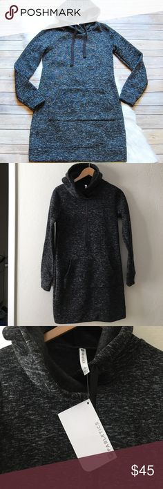 """FABLETICS 'Yukon' Dress Brand new with tags. Hooded sweatshirt dress in a mix of black and white. Soft, brushed fleece. Slouchy, crossover drawstring hood. Front kangaroo pocket. Relaxed fit. Size S/6. Offers welcomed.  Armpit: 17"""" Waist: 16"""" Hips: 19"""" Shoulder to Hem: 33""""  Instagram: @bringingupsuns Fabletics Dresses Long Sleeve"""