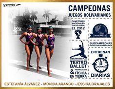 Estefanía Álvarez, Mónica Arango y Jessica Grajales componen el equipo de nado sincronizado campeón nacional dueto desde el 2012.  #TeamSpeedoCol