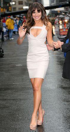 okay lea michele... LOVE the dress! and the louboutin heels
