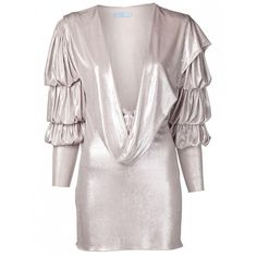 Julia Clancey Silver Grace Dress (38200 RSD) ❤ liked on Polyvore featuring dresses, pink slip, long sleeve slip, long slip dress, pink slip dress and short slip