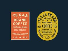 TX Coffee Labels designed by Jonathan Schubert. Connect with them on Dribbble; the global community for designers and creative professionals. Brand Packaging, Packaging Design, Branding Design, Logo Design, Print Design, Coffee Shop Logo, Coffee Branding, Typography Logo, Typography Design