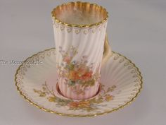 antique Doulton Burslem tall demitasse teacup w/branch handle & saucer 1891-1902