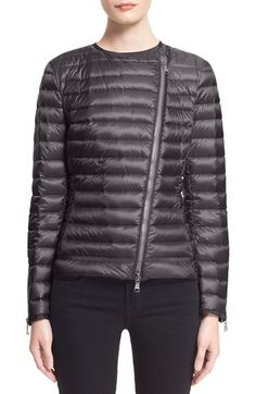 Moncler 'Amey' Short Biker Down Jacket available at #Nordstrom