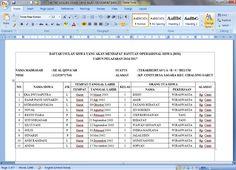 Download Contoh Daftar Siswa Penerima Dana Bantuan Operasional Siswa (BOS) Terbaru Tahun 2016-2017 Format Microsoft Word
