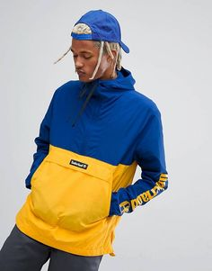 Timberland Overhead Windbreaker Jacket With Hood in Navy and Yellow Windbreaker Jacket, Hooded Jacket, Sport Fashion, Mens Fashion, Revival Clothing, Street Wear, Menswear, Leather Jacket, Clothes
