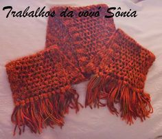 Trabalhos da vovó Sônia: Cachecol Sedificada laranja - croché