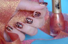 Anna Galaxy: Aurelia. Лак для ногтей Glamour G40 velvet effect + стемпинг с плиткой MoYou London pro collection XL-24