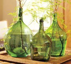 glass bottle green ferns natural fiber tray